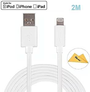 Yellowknife Apple認証lightning usbケーブルiPhone5/5s/5c/6/6Plus/6s/6sPlus/SE/7/7Plus等対応2M white OAprodaクロス付き