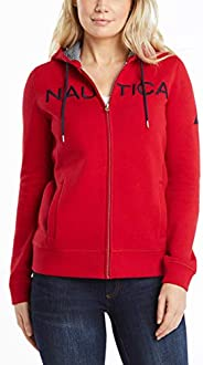 NAUTICA Women's Go-to Signature Cotton Full-Zip Logo Ho