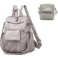 Women Backpack Purse PU Soft Leather Retro Casual Ladies Rucksack Detachable Crossbody Shoulder Bag