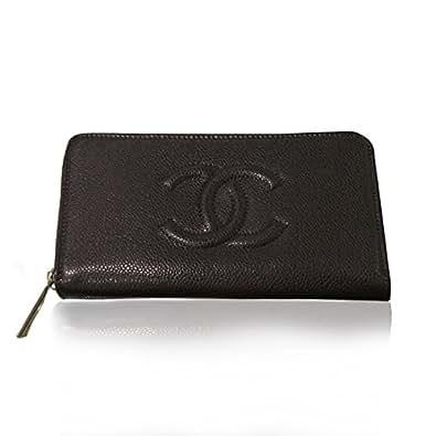 CHANEL (シャネル) キャビアスキン 型押し CC ロゴ ラウンドファスナー 長財布 ブラック