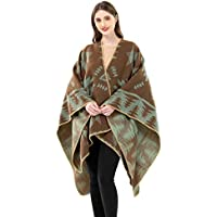 Women's Knitted Open front Poncho Cape Tribal Cardigan Plus Size Wrap Shawl