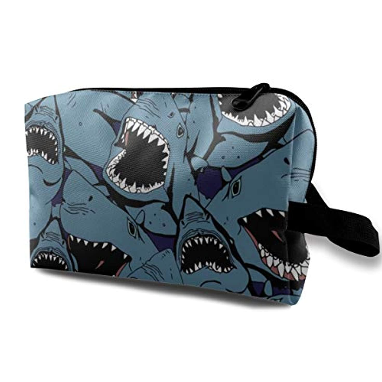 判定葉を拾う長さAngry Shark 収納ポーチ 化粧ポーチ 大容量 軽量 耐久性 ハンドル付持ち運び便利。入れ 自宅?出張?旅行?アウトドア撮影などに対応。メンズ レディース トラベルグッズ