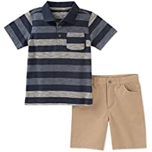 Calvin Klein Baby Boys 2 Pieces Polo Shorts Set