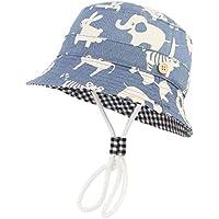 pekabo ベビー帽子 バケットハット キッズハット キリン うさぎプリント 紫外線対策 ひも付き 男女兼用 女の子 男の子 52cm