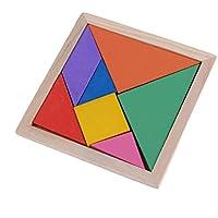 uhomey子パズル木製玩具色ジオメトリ脳トレーニングタングラムパズル