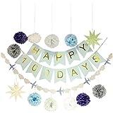 Baosity ベビーシャワー 赤ちゃん100日 お祝いパーティー バナー 9角星 女の子 男の子 写真背景 2タイプ選べ - 青