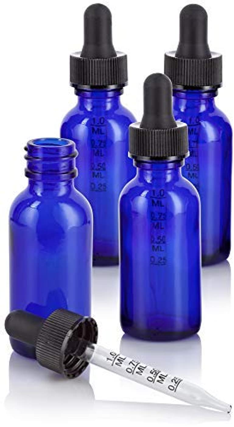 接触担当者昨日1 oz Cobalt Blue Glass Boston Round Graduated Measurement Glass Dropper Bottle (4 pack) + Funnel for essential oils, aromatherapy, e-liquid, food grade, bpa free [並行輸入品]