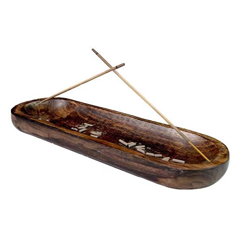 不快な騒々しい仮説Trough Style Antique Wood Hand Made Double Incense Burner Ash Catcher