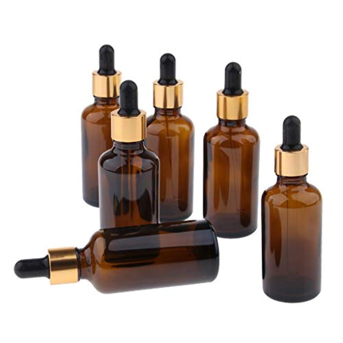 どこか不変徴収Baoblaze 6個 精油瓶 遮光瓶 空瓶 ガラス 分け瓶 香水瓶 オイルボトル スポイト 詰め替え 旅行 マルチ容量選択 - 50ml