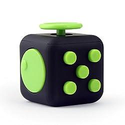 GearUnion Fidget Cube ストレス解消キューブ 不安 緊張 リリーフ 不安の子供と大人 フォーカス玩具 ルービックキューブ おもちゃ プレゼント ポケットゲーム (ブラック+グリーン)