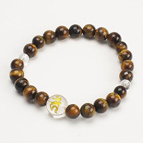 腕輪念珠 干支梵字入り虎目石腕輪数珠 サイズ(内径) ・約18cm 守護梵字 ・キリーク(いぬ、いのしし年)