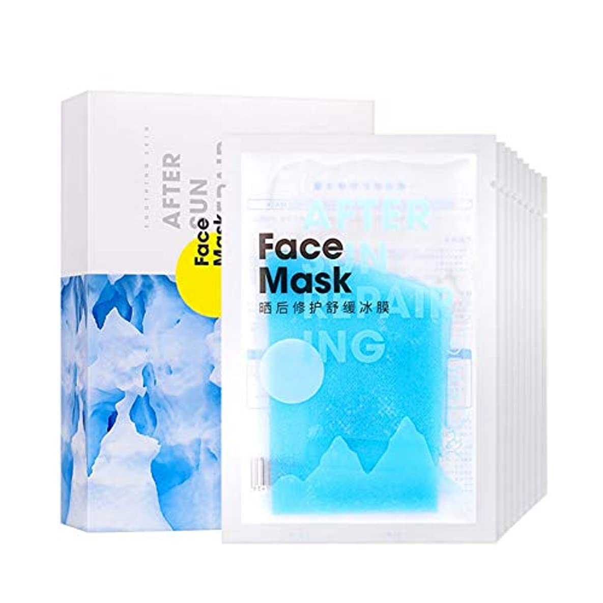 フェイスマスク マスク 極潤 極薄 浸透 モイスチャライジング 高保湿 オールインワン 潤い 小しわを滑らかに 日焼け後リペアマスク10枚入り Cutelove