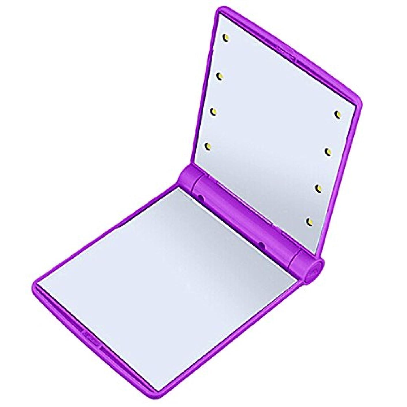 ボンドみすぼらしい実装するQIAONAI 鏡 化粧鏡  LEDライト付き  コンパクトミラー 化粧鏡  LEDミラー  女優ミラー  折りたたみ式 二面鏡  スタンドミラー   コンパクト  LEDライト8個 女性