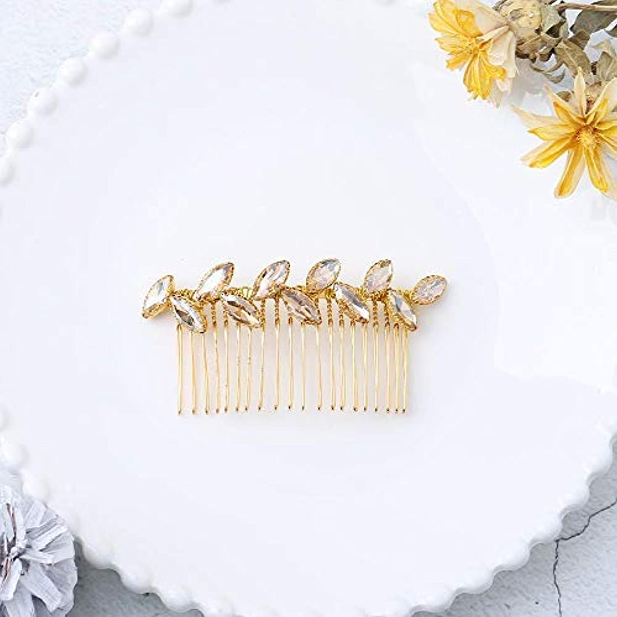 抽出ポーク抽出Jovono Bride Wedding Hair Comb Bridal Headpieces with Champagne Rhinestone for Women and Girls (Gold) [並行輸入品]