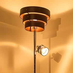 【大人の空間を作る間接照明 おしゃれスタンドライト】 LED対応 2方向型 アッパーライト スポットライト 木目デザイン 北欧風 フロアライト ブラウン色