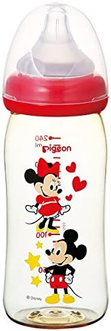 Pigeon Breast Milk Feeling Baby Bottle Plastic Mickey & Minnie 8.45 fl.oz. (24