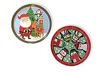 """メラミン皿 大型 円形 クリスマス ホリデー デザイン 2個セット 13.5"""" Diameter レッド"""