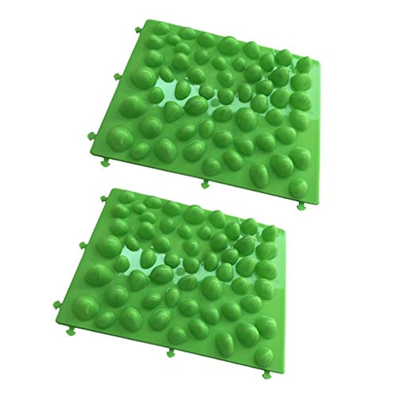 エンジニアリングテクスチャー影響力のあるフットマッサージパッド 足つぼマッサージパッド フットマッサージ 人工石 血行促進 グリーン 2個入