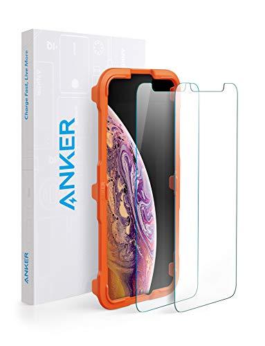 【改善版】【2枚セット / 専用フレーム付属】Anker GlassGuard iPhone 11 Pro/XS/X用 強化ガラス液晶保護フィルム 【3D Touch対応 / 硬度9H / 簡単貼付】