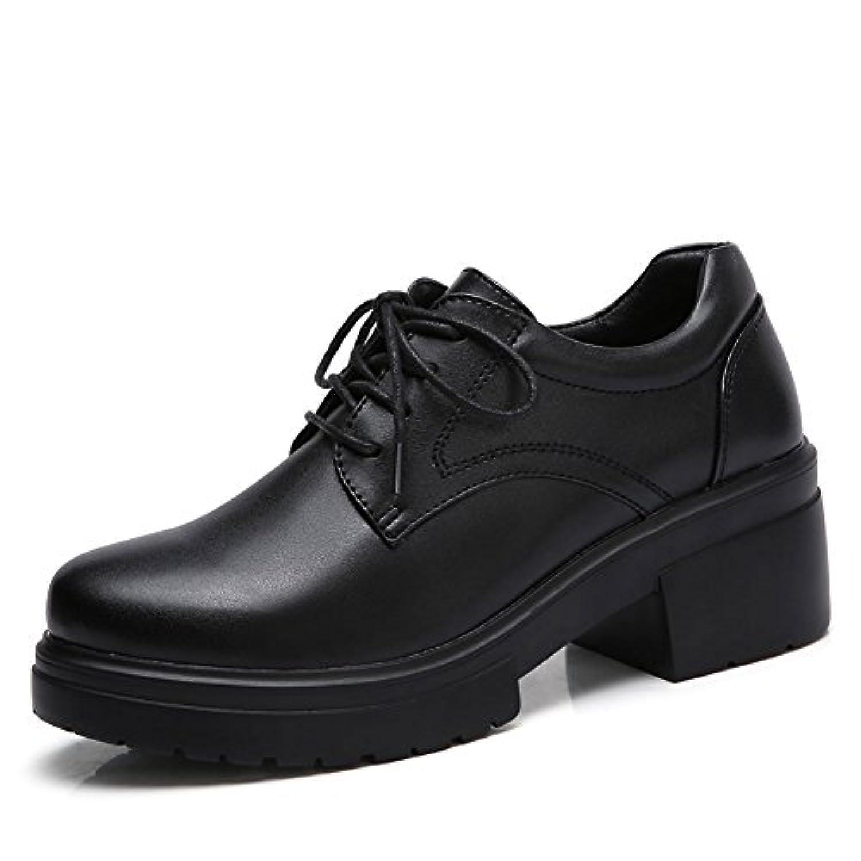【STQ】レディース レースアップシューズ オックスフォード 太めヒール レザー カジュアル 女の子 学生革靴 厚底靴 皮靴 通学 通勤 歩きやすい 滑り止め