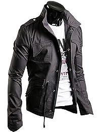 ef61dccef0647f KMAZN メンズ ミリタリー ライダース ジャケット ウィンドブレーカー エポレット おしゃれ 長袖 防風 大きいサイズ 黒 緑 ジャンパー