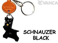 Schnauzerブラックレザー犬小さなキーチェーンVANCA craft-collectibleキーリングチャームペンダント日本製