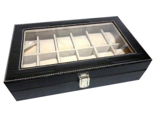 ウォッチコレクションケース 腕時計12本収納 / ブラックレザー調(PVC黒)