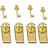 Perfeclan 4 Set Dolls House Miniature DIY Making Accs Door Lock with Keys Golden 12th