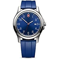 Victorinox Swiss Army Garrison Elegance Date Watch 40mm Case Blue Dial and Rubber Sport Strap 26068.CB
