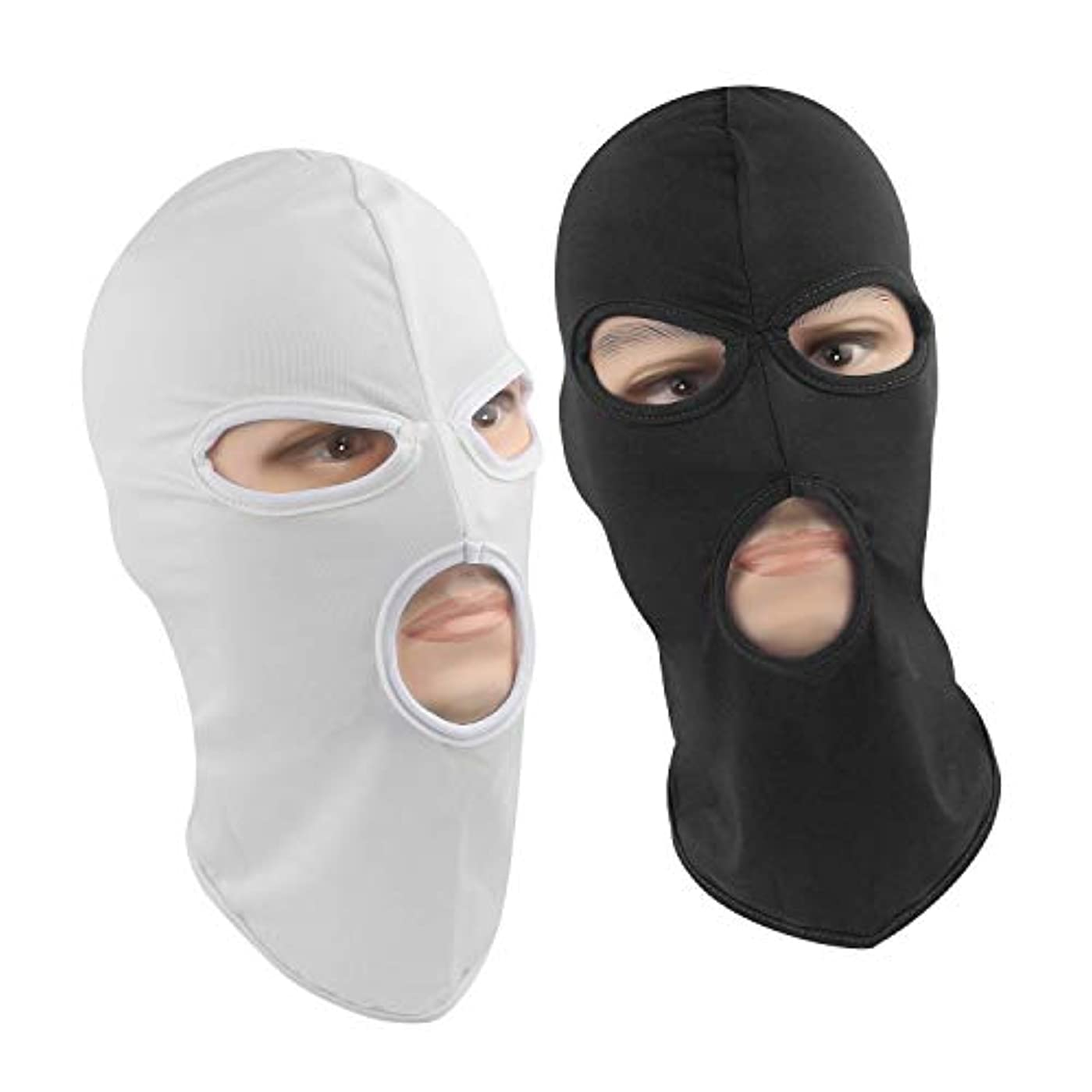 ブレス傾いた小道バラクラバマスク3ホール式 伸縮速乾 柔軟軽量 保温通気 UVカット 防風 フルフェイスマスク,ブラック+白,2個