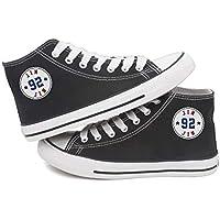 Fanstown KPOP 韓流 BTS 防弾少年団 メンバー名と出生年による丸いタグの黒いフラットキャンバス靴 スニーカー デッキシューズ