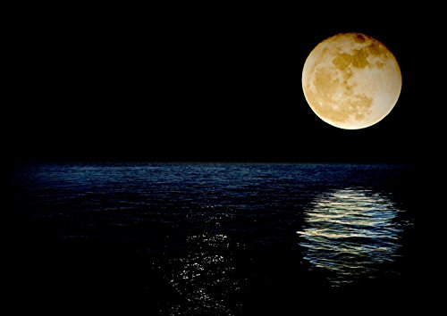 絵画風 壁紙ポスター (はがせるシール式) 月 スーパームーン 満月 天体 神秘 癒し パワー スーパールナ キャラクロ MON-001A2 (A2版 594mm×420mm) 建築用壁紙+耐候性塗料