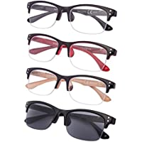 4-pack Half-rim Reading Glasses with Spring Hinges Include Sunshine Readers
