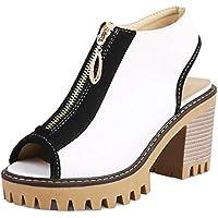 BeiaMina Woman Mid Heel Sandals Peep Toe Summer Shoes