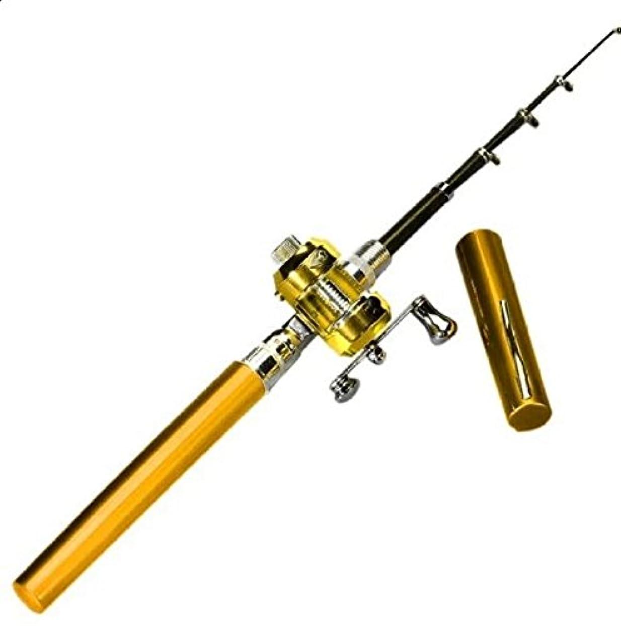 縁クラブ残酷なミニポータブルpocket-size pen-shape合金材質釣りロッドポータブルポケットペン形状アルミ合金釣りロッドポールリール