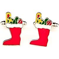 MRCUFF Christmas Stocking Red Pair Cufflinks in a Presentation Gift Box & Polishing Cloth