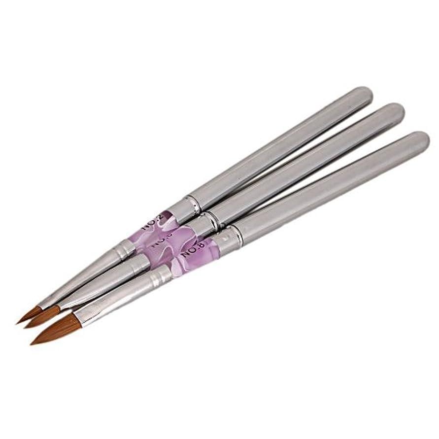 マーティフィールディングキリンどこにもNrpfell 3枚マーブルセーブルアクリルのヒントネイルアートの絵画のブラシブラシ彫刻ペン取り外し可能サイズ #2 #6 #8
