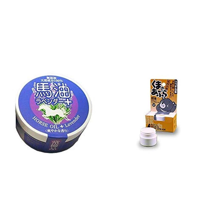 容器カンガルー表現[2点セット] 無添加天然成分100% 馬油[ラベンダー](38g)?信州木曽 くまのあぶら 熊油スキン&リップクリーム(9g)