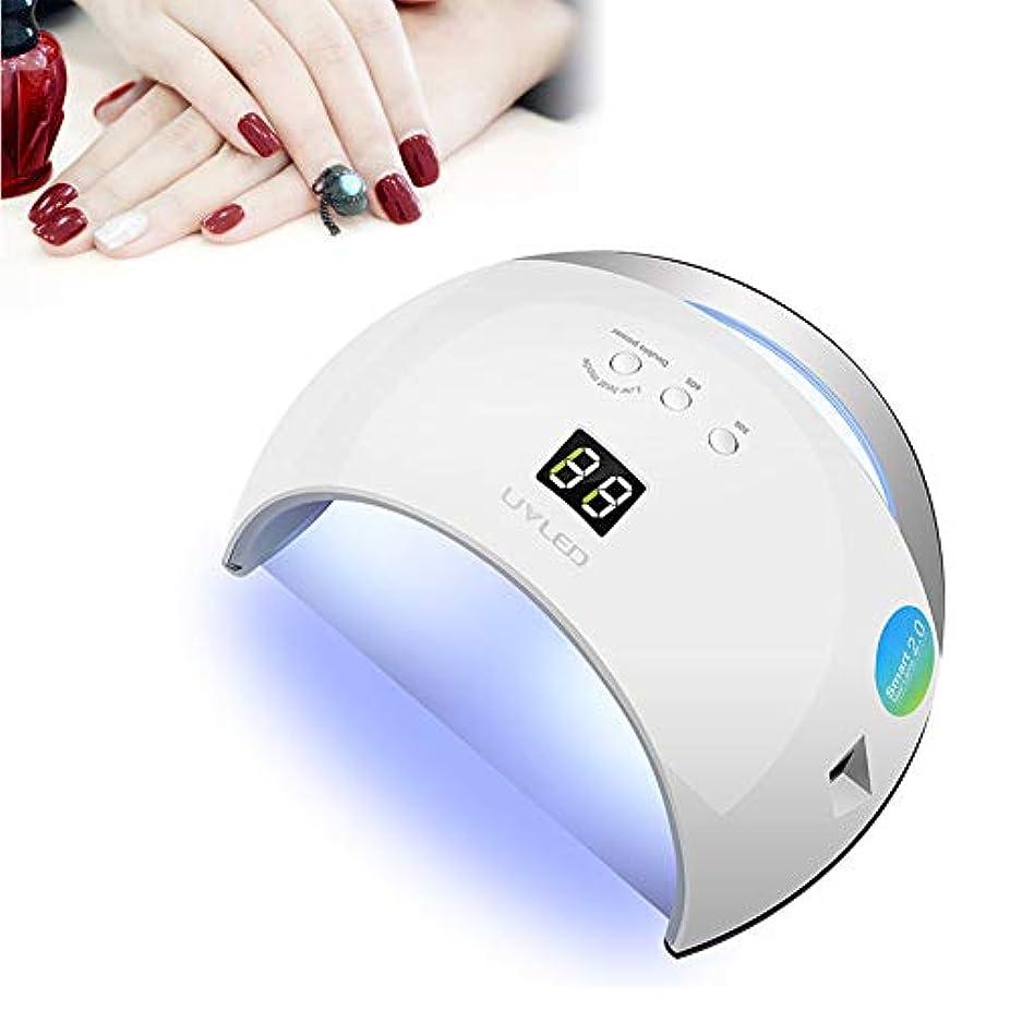 ネイルグルー用LED UVランプ、ゲル研磨用48Wクイックネイルドライヤー、ネイルライト、3タイマー設定30S、60S、99S、インテリジェント自動検知、ネイル用サロン品質プロフェッショナルジェルライ