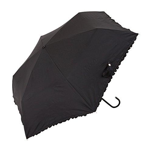 UVカット率約99% PU加工フリル日傘折りたたみ傘ブラック
