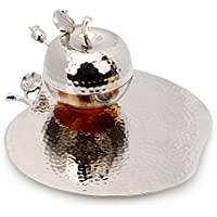 Classic Touch JHT342 Rosh Hashanah Honey Dish with Spoon, 9-Inch, Silver by Classic Touch
