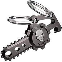 Hephisキーホルダー 栓抜き付き キーチェーン[ ドクロブラック] 両用タイプ ファッション デザイン メンズ 男性 車 鍵 2つ キーリング付き