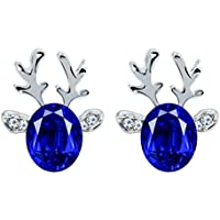 Spaufu Equisite Gemstone Antlers Earrings Studs for Woman Girl Earrings Jewellery Accessory Christmas Birthday Party Gift Various Colors Alloy 1pair