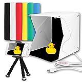 Innens ミニ撮影ボックス 簡易スタジオ 22 * 23 * 24cm ボタン式 折り畳み 40個led電球 写真撮影 光り調整可能 USB給電 背景布6色 ミニ三脚 付属 持ち運び便利 「最新バージョン」