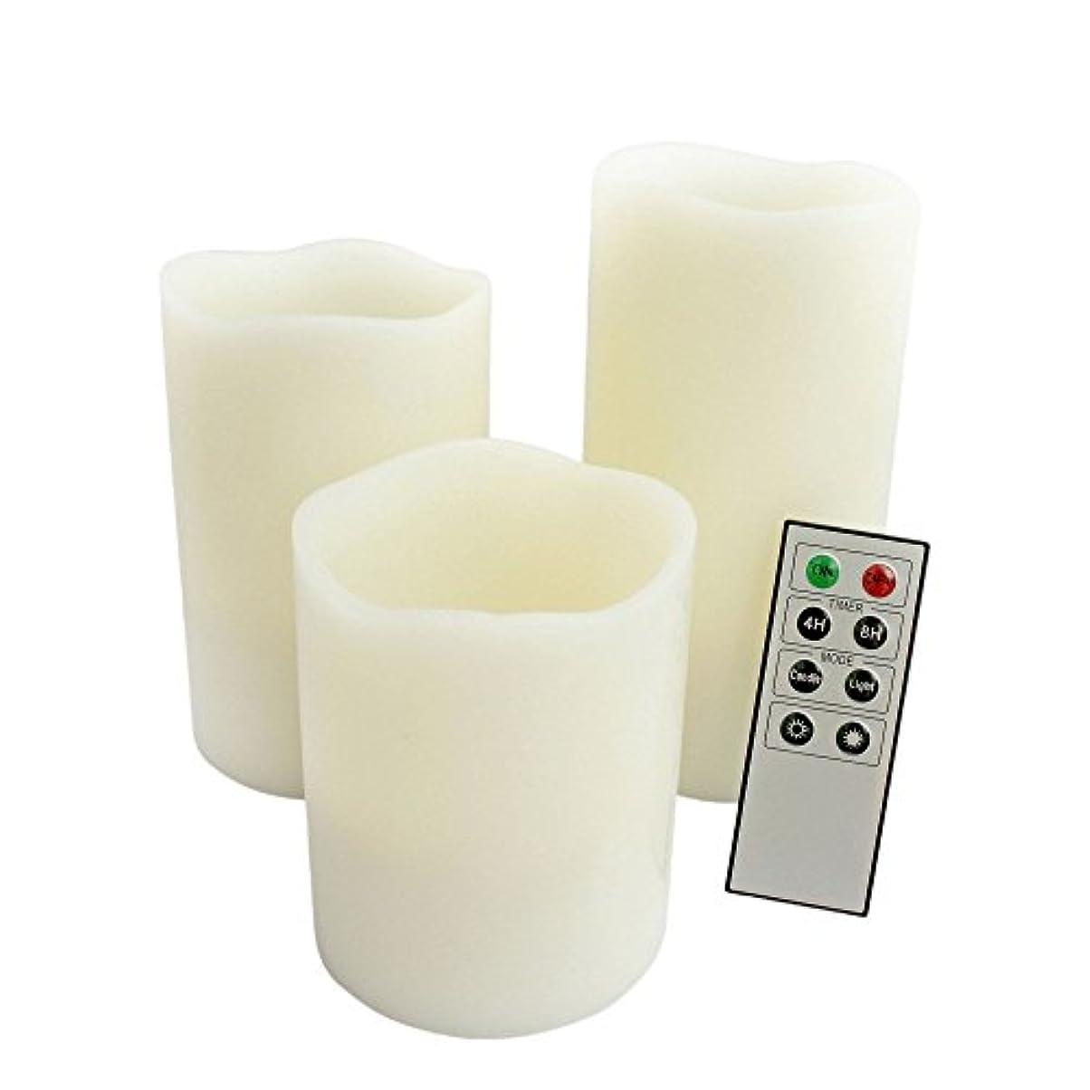 ありがたいレバー読者Candle Choice d70rw31456 mラウンド溶けエッジリモート制御さ使わないワックスピラーLEDキャンドル、本物のワックス、3ピース