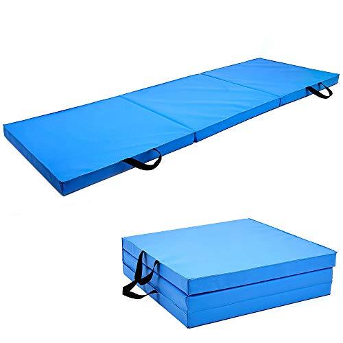 Soomloom 三段 折りたたみ式 スポーツ 体操トレーニング マット 180X60CM 厚5.5CM (ブルー, 180*60CM)