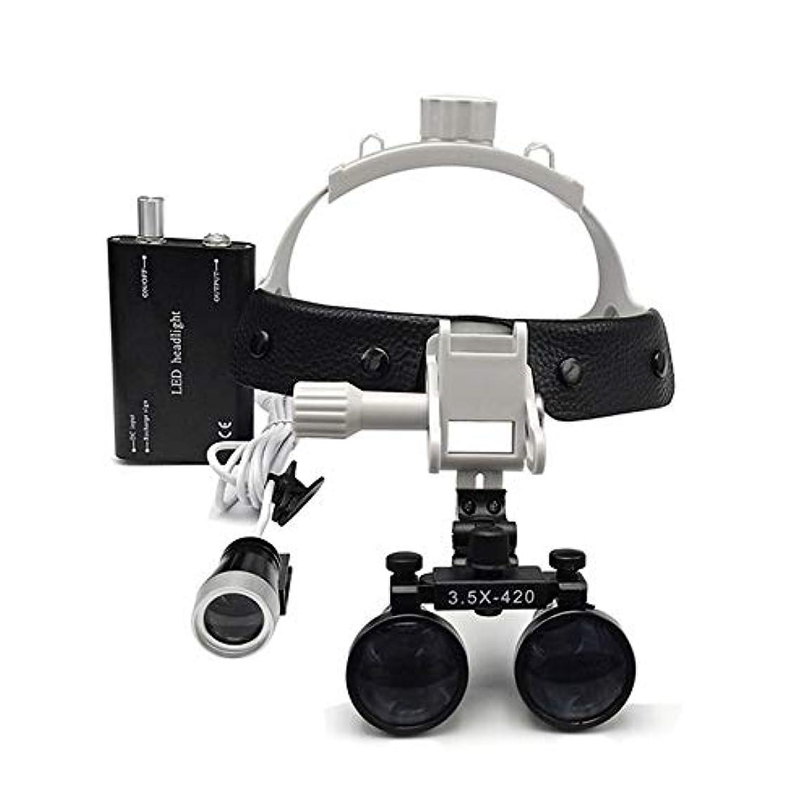 器官小間鏡LEDヘッドライトとヘッドセット3.5倍の拡大鏡