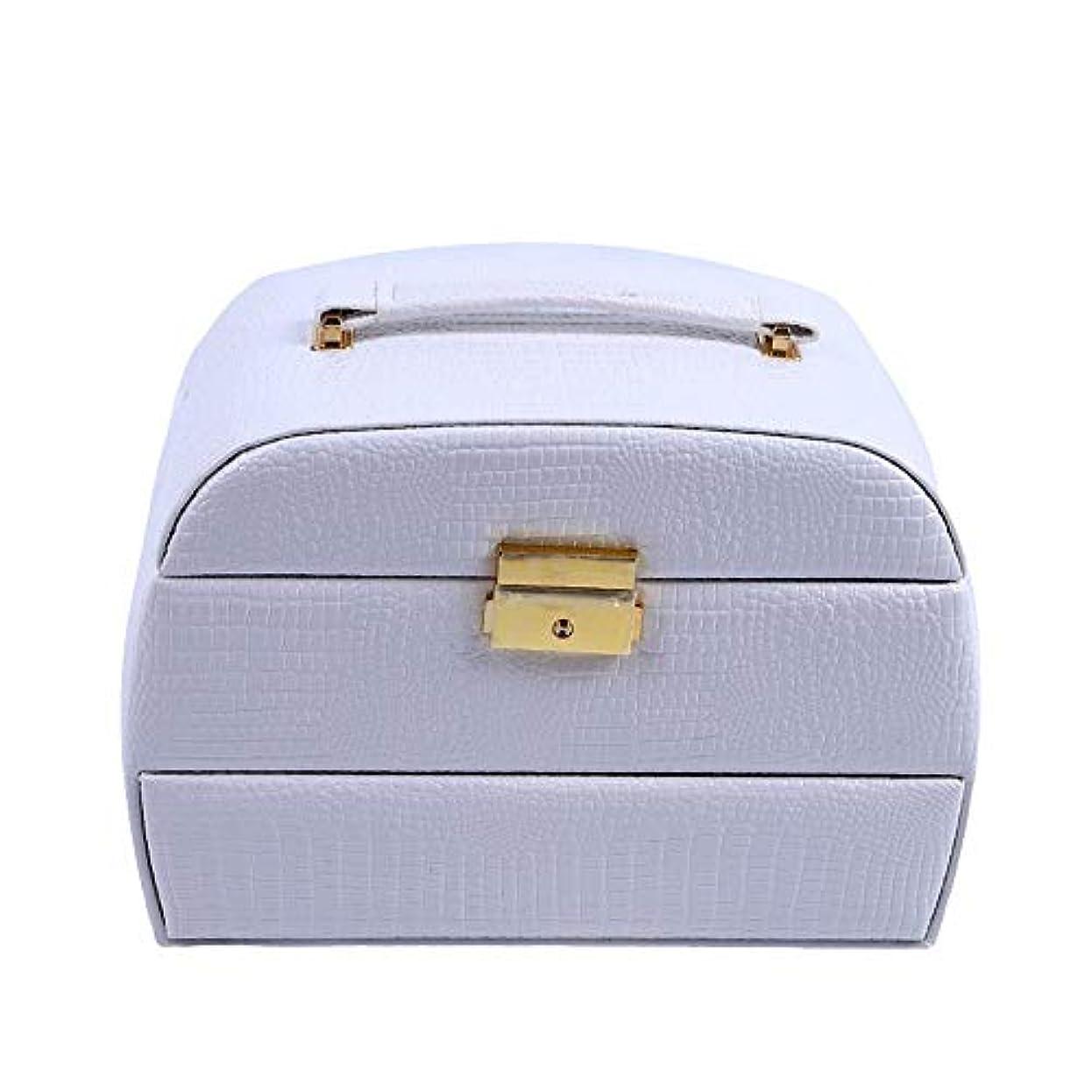 ムスゴミ定期的化粧オーガナイザーバッグ 美容メイクアップのための大容量ポータブル化粧ケース、女性化粧ミラー付きのロック付き女性旅行と毎日の保管 化粧品ケース