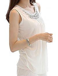 (プチハピ) PuchiHapi 胸元 ビジュー付き タンクトップ ストレッチ あり エレガント オフィス にも 白 レディース S~3XL サイズ