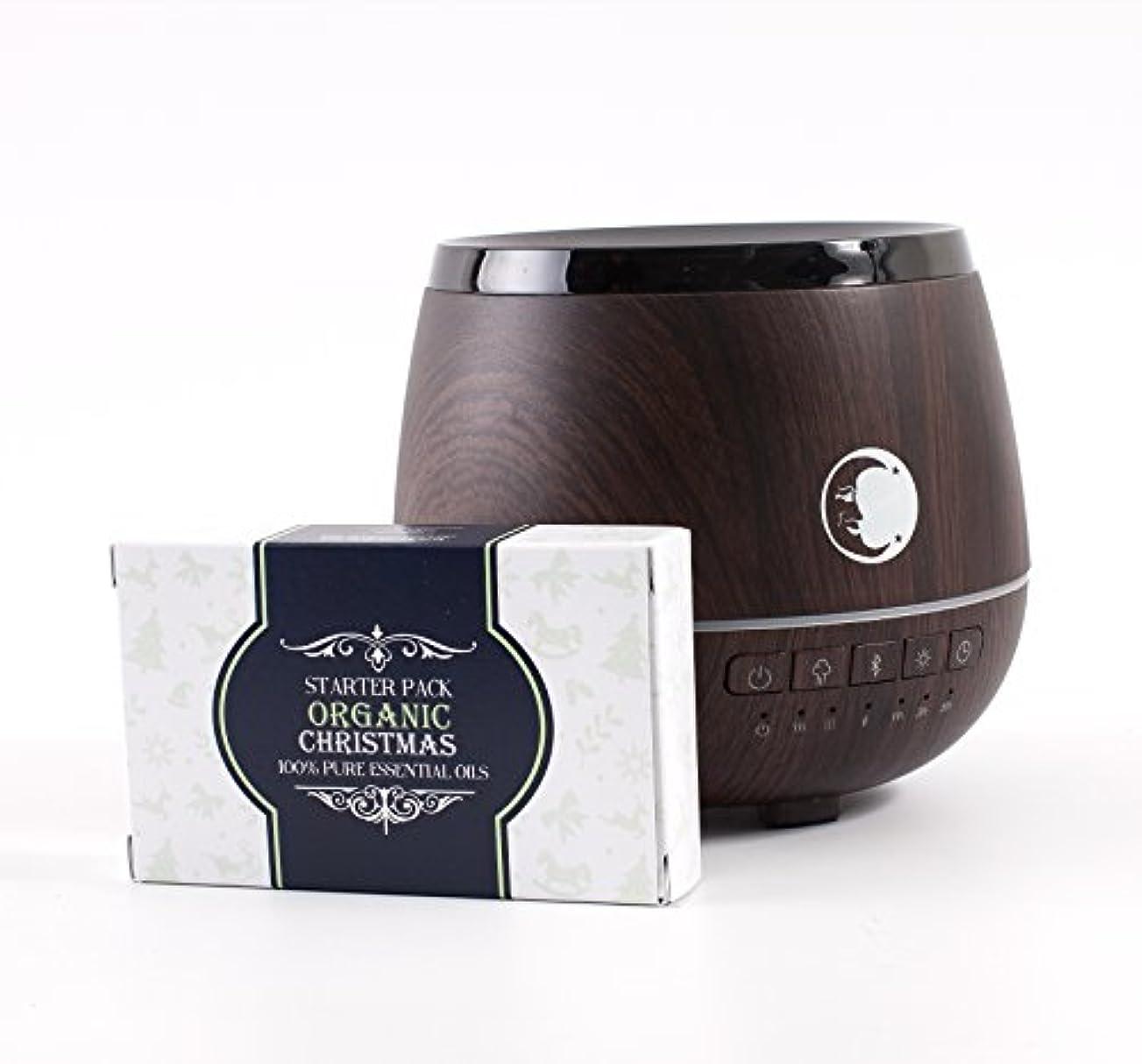 生後方に半円Mystic Moments | Wood Effect Aromatherapy Oil Ultrasonic Diffuser With Bluetooth Speaker & LED Lights + Organic Christmas Essential Oil Gift Starter Pack